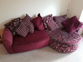 DFS Purple 4 Seater Sofa and Chair