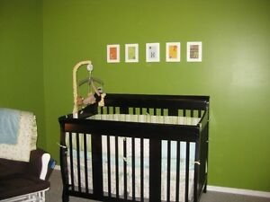 Crib with mattress and change table set