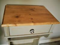Solid vintage pine bedside table or telephone stand, 'upcycled' in Annie Sloan Paris Grey