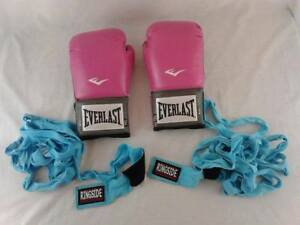 Everlast Pro Style Training Gloves Pink 12 oz and Hand wraps
