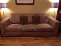 Faux Suede 3-Piece Suite: Sofa and 2 Chairs