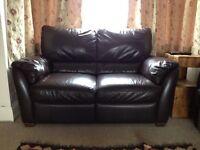 2 x dark brown leather 2 seater sofas