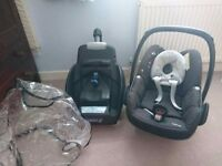 Car seat, easy fix base and rain cover