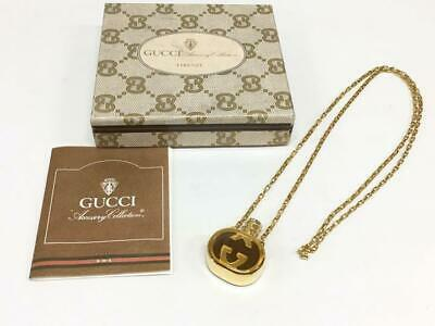 GUCCI Perfume Bottle Motif Pendant GG Interlocking Logo Necklace Vintage Jewelry