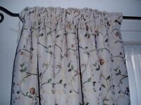 Pale gold embroidered, floral, lined heavy curtains - (70insL x 64insW)