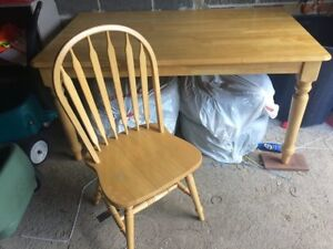 Solid Pine table with 5 matching Chairs now 160.00