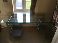 Glass desk and shelve unit