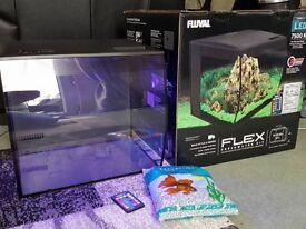Fluval Flex 57 Litre fish tank with Multi Coloured Led Lighting