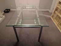 Extendable Glass Dining Table with 4 Chairs