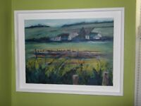 Original Vicky Speirs Painting - 'Farm at Blair's- Dusk'