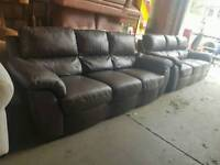 Brown twin three seater leather sofa suite only £90