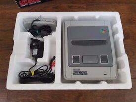 Super Nintendo SNES console boxed with Mario All Stars game