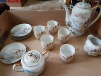 Kutani China Hand Painted Water Mill Scene coffee set