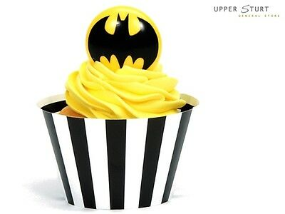 Batman Cupcake Wrappers and Plastic Ring Kit 24 Pack