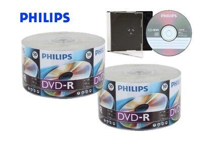 100 16X PHILIPS Logo Top Blank DVD-R DVDR Disc 4.7GB + 1 FREE CD-RW Disc in Case 100 Gb Cd