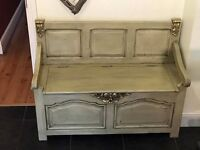 Shabby Chic settle Pew hall seat Storage Painted In Annie Sloan Chunky Pine