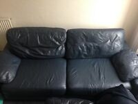Two Seater Sofa (Navy Leather)