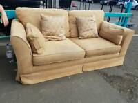 Light brown fabric 2 seater sofa with scatter cushions