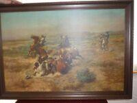 2 LARGE Western Horse & Cowboy Scenes Printed Painting Picture - Dark Wood Frames