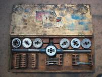 old tap & die set in original wood box