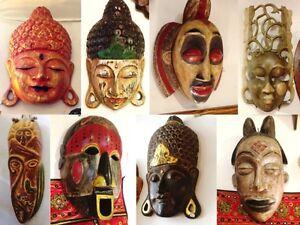 Masque Indonésien Bois Sculpté / Handcarved Wood Indonesian Mask