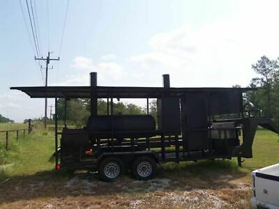Used 24 Open Covered Bbq Pit Gooseneck Smoker Tailgating Trailer For Sale In Te