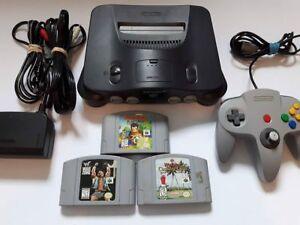 Console de jeu vidéo Nintendo 64 avec 3 jeux