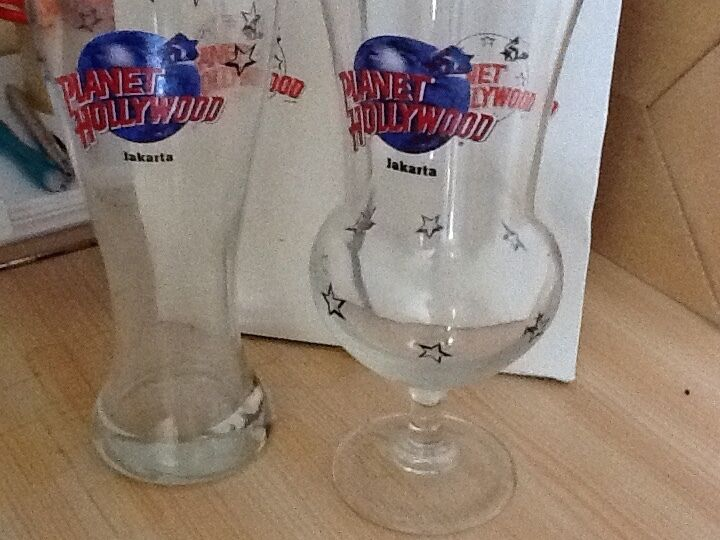 A pair of Planet Hollywood Jakarka Cocktail glass