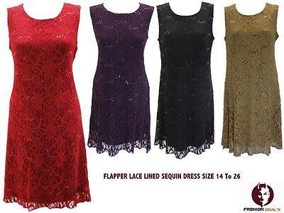 New Womens Ladies Sequin Lace Lined Flapper Top Dress Xmas Party Plus - Lace Flapper Kostüm