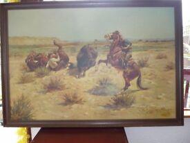 3 LARGE Western Printed Paintings Picture - Dark Wood Frame