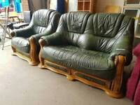 Italian green leather 2 seater sofa with matching armchair