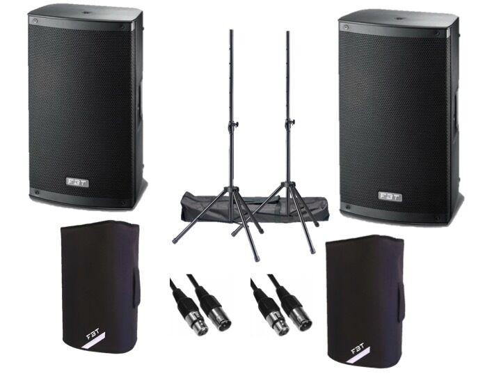 "FBT Xlite 12A Active 2000W 12"" Powered Speaker DJ Disco PA Sound System Package"