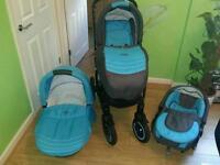 York Adamex travel system pram buggy stroller 3 in 1 baby boy blue grey excellent condition complete
