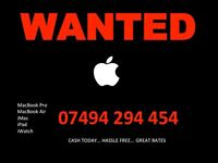 WANTED... Apple MacBook Pro, Air, iMac, iPad, iWatch... CASH TODAY...HASSLE FREE...GREAT RATES