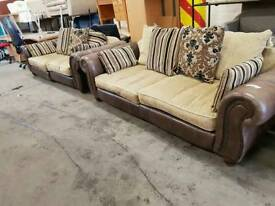 Brown leather armed twin three seater sofa suite
