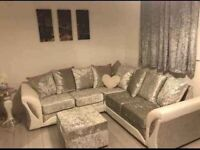 == NEXT DAY DELIVERY == IMPORTED SHANNON LEATHER CRUSHED VELVET CORNER OR 3+2 SOFA SET