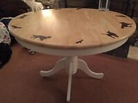 Round Dining Table with Dogs Hand Burnt on Top White and Wood