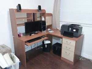 L-shaped Computer desk with hutch