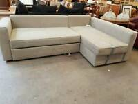Modern grey fabric corner sofa with pull out bed