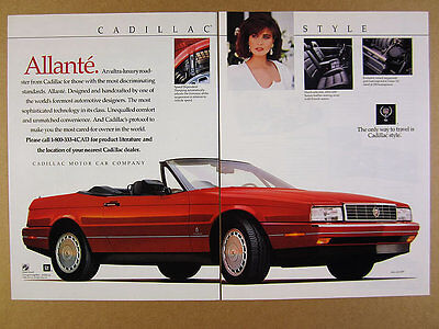 1989 Cadillac Allante red convertible color photo vintage print Ad