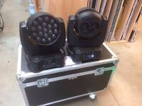 Pair of Showtec Infinity iW-1915 lights. Intelligent moving heads. Disco Gig Theatre DJ