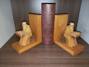 """""""Philosopher on books"""" Vintage hand carved wood bookends"""