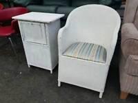 Lloyd loom style chair + side table
