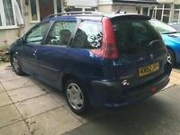 Peaugot 206 SW estate. Blue. DAMAGED ! Repair needed. Car