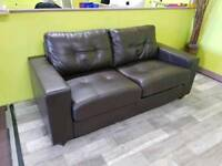 Brown Faux Leather 2 Seater Sofa Bed - Can Deliver For £19