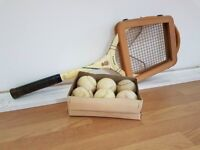 intage Slazenger Tennis Racket with Head Cover and White Tennis Balls