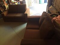 2x 2 Seater Brown Fabric Sofas