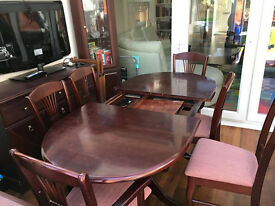Dark Wood Extendable Dining Table And 6 Chairs