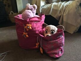 Two pretty storage bags (soft toys not included)