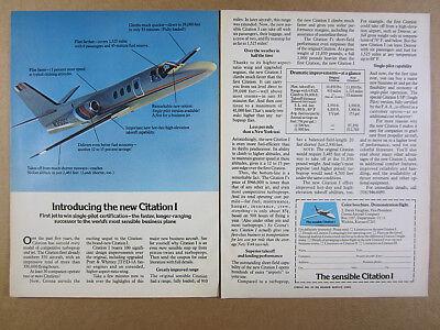 1977 Cessna Citation I Business Jet airplane aircraft vintage print Ad ()